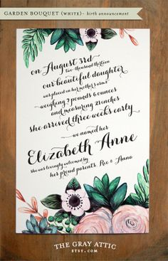 Floral+Birth+Announcement+White+Garden+Bouquet++by+TheGrayAttic,+$70.00