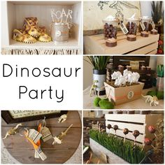 Dinosaur Party Collage, cake pops, dino eggs, excavation brushes, ROAR, chocolate Dinosaurs