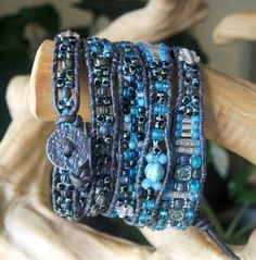 12% OFF CHARCOAL SKIES Beaded 5 Wrap by BraceletsofBlueRidge