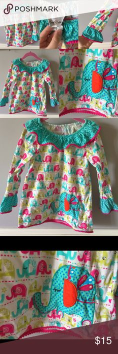 Brightly colored elephant patterned corduroy dress This dress is so darling! With bell sleeves, super soft material, big ruffled collar, and bright colors all you need is a big bow to top off this cute ensemble! The only flaw I see is a snag in one of the polka dots on the big elephant emblem on the front of the dress. You can see it in the photo. Very minor! Forgive the wrinkles as this was in storage, but will relax when hung up! Rare Editions Dresses