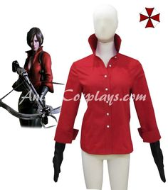 Ainclu Hot Selling Costume Resident Evil 6 Ada Wong Red Shirt Cosplay Costume For Kid Customize for plus size adults and kids.