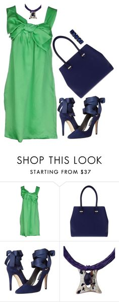"""""""Little Green Dress"""" by paperdollsq ❤ liked on Polyvore featuring P.A.R.O.S.H., Victoria Beckham, Alice + Olivia, NOVICA, Monet, HowToWear and GreenDress"""