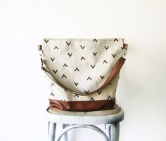 Geometry Hobo Bag Crossbody Bag, Canvas and vegan Leather, Hand printed bag, Large Bag, Casual - too small but lovely fabrics