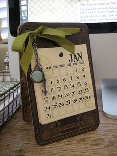 """This is really cool.   From the blog: """"Last year we made this desktop calendar as our make and take at the 7gypsies booth at CHA.  For those of you that dont get to attend CHA we thought you might enjoy making this fun calendar."""""""