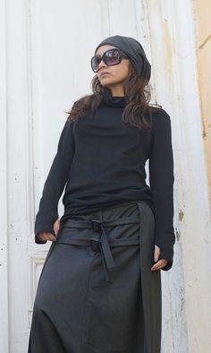 Black Long Sleeve Top / Thumb Holes Sleeve Blouse / Sexy Collar Black Top / Black Loose Blazer / Casual Swetshirt by METAMORPHOZA