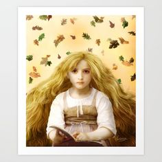 Once Upon an Autumn Day, by Diogo Veríssimo #dverissimo #illustration #painting #digital #collage #surreal #fantasy #vintage #woman #girl #hair #beauty #beautifull #story  #book #fall #seasons #leaves #wallart #autumn #children