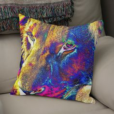 Discover «Lion Male Portrait thula-art», Numbered Edition Throw Pillow by Barbara Fraatz - From $27 - Curioos Framed Art Prints, Canvas Prints, Welcome Gifts, Soft Fabrics, Lion, Throw Pillows, Portrait, Artist, Artwork