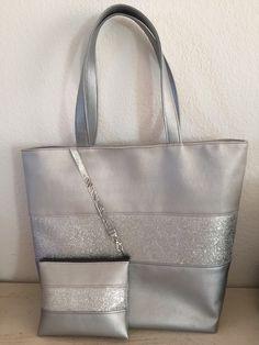 Sac cabas bande paillette argentée cuir synthétique gris perle et argent