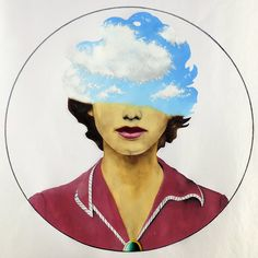 Head In The Clouds  A3  Oil on Paper  An oil painting depicting a woman being Enveloped by clouds.  Artist- Franscois Potgieter  See more @ themindisright.com #illustration #woman #red #cloud #clouds #circle #sky #themindisright  #oil #paper #art #painting
