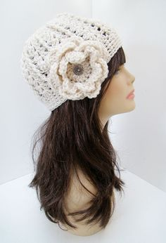 FREE SHIPPING  Crochet Flower Fitted Hat  Cream OffWhite by Tzigns, $28.00
