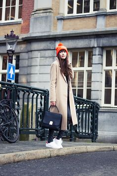 DOT DOT DOT - A DASH OF FASH - fashion blogger casual outfit minimal outfit minimalism orange adidas beanie camel oversized coat grey skinny jeans stan smith pharrell adidas sneakers black loavies bag