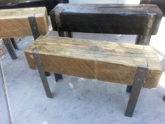 recycled wood beams and angle iron bench Log Furniture, Industrial Furniture, Furniture Design, Iron Bench, Into The Woods, Wood Beams, Recycled Wood, Wood And Metal, Wood Steel
