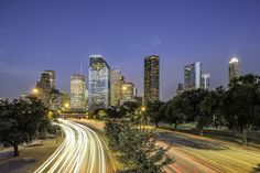 Allen Parkway To Downtown Houston Skyline http://mabrycampbell.com #image #photo #skyline #houston #texas #downtown #cartrails #allenparkway #traffic #cityscape #MabryCampbell #photograph #photography #houstontx #blue hour #twilight