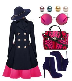 """""""Bright pink!"""" by chalsouv ❤ liked on Polyvore featuring N°21, Christian Louboutin, Versace, Lanvin and Matthew Williamson"""