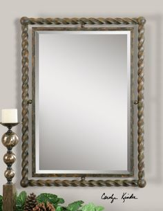 Showing this style to a Boxwell's client-great style frame with a beautiful bevelled mirror.  Mirror size is 20x30  Boxwell's will be happy to order just the right style mirror for your needs.