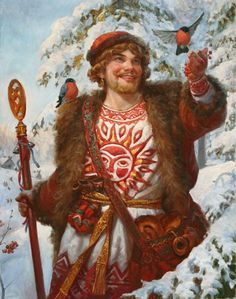 Russian costume in painting. 'A Young Man with Bullfinches' by Andrey Shishkin, 2015 #art