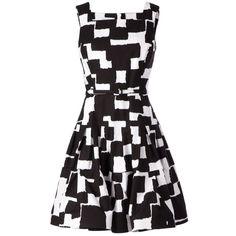 Oscar de la Renta Graphic Print Belted Dress ($1,769) ❤ liked on Polyvore featuring dresses, vestidos, short dresses, black, graphic print dress, black belted dress, oscar de la renta, short black dresses and belt dress