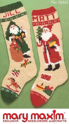 Knit these Christmas stockings using Mary Maxim Worsted Weight yarn.