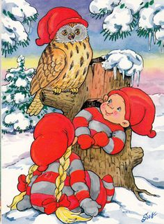 gnomes and owl Christmas Owls, Nordic Christmas, Christmas Fairy, Christmas Clipart, Vintage Christmas Cards, Christmas Pictures, Christmas Crafts, Forest Creatures, Woodland Creatures