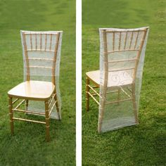 Silver Organza Chiavari Chair Covers | Chair Slipcovers with Satin Embroidery Folding Chair Covers, Chair Back Covers, Banquet Chair Covers, Chair Bows, Chair Sashes, Party Chairs, Table And Chairs, Christmas In July Decorations, Chiavari Chairs