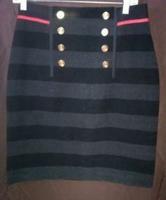 PER SE Women' s Size 8 Striped 100% Wool Skirt. Gorgeous, High Quality Brand