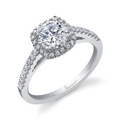 Shop online Sylvie Collection WRW-11896 Halo White Gold Diamond Engagement Ring at Arthur's Jewelers. Free Shipping