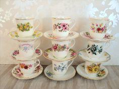 Teacup and Saucer lot Nine mismatched sets for by littlecleoathome, $90.00