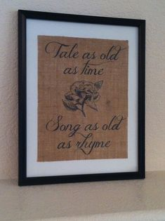 Rustic burlap art Tale as Old as Time Beauty and the Beast Fairy tale ARTWORK ONLY. $20.00, via Etsy.