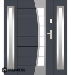 Fargo 37 T - stainless steel front door with two side panels Double Front Entry Doors, Modern Front Door, Front Door Entrance, External Double Doors, Gate Designs Modern, Double Door Design, Door Gate Design, Prehung Doors, Aluminium