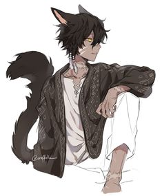 Neko Boy, Yandere Anime, Anime Oc, Anime Eyes, Boy Character, Cute Anime Character, Handsome Anime Guys, Cute Anime Guys, Black Anime Characters