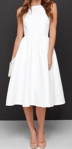 Ivory Halter Midi Dress with Squared Neckline