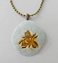 Bee pendant, hexagon necklace, gold aqua porcelain pendant, pottery pendant, Bumble bee ceramic necklace, bridesmaid favor, save the bees