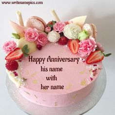You can create happy marriage anniversary cake image with Couple Name which is d. You can create happy marriage anniversary cake image with Couple Name which is decorated by Rose flowers and Wedding Anniversary Cake Image, Happy Marriage Anniversary Cake, Anniversary Cake With Name, Happy Wedding Anniversary Wishes, Wedding Cake, Anniversary Greetings, 25th Anniversary, Cake Images, Cake Pictures