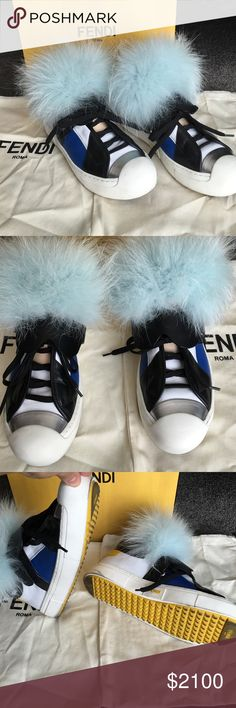 Fendi Karl Sneakers These shoes are my babies, but I am ready to let them go! I obsessed for almost a year saving up to buy them but realistically I have only worn them once! This was the last size 8 in the USA! Purchased at fendi city center lad Vegas. Comes with dust bag and box! Fendi Shoes Sneakers
