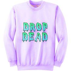 Drop dead Purple Sweatshirt ($40) ❤ liked on Polyvore featuring tops, hoodies, sweatshirts, sweaters, shirts, long sleeves, oversized tops, extra long sleeve shirts, stitch shirt and oversized shirt