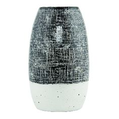 Black & White Vase: Large glazed clay vase. Hand glazed with a rough textured finish. No two are the same.