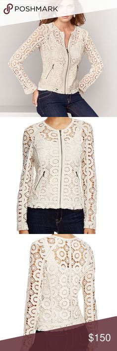 "Neiman Marcus Crochet Jacket with Lambskin Trim Bagatelle crochet jacket with lambskin leather trim.Approx. 21""L down center back.Round neckline; zip front.Long raglan sleeves, 25""L.Two zip pockets.Polyester. Neiman Marcus Jackets & Coats"