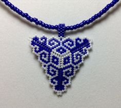 Navy Blue And White Scroll Peyote Triangle by DoubleACreations, $20.00