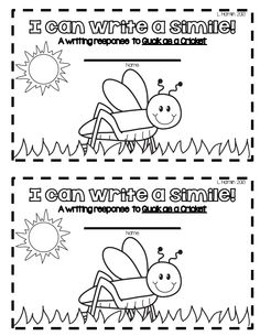 quick as a cricket writing activities