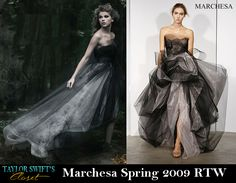 With her new album coming out in less than a week I've decided to reflect back on Taylor's fading Speak Now era. In her Speak Now booklet, Taylor wore a beautifully mystifying Marchesa Spring 2009 RTW gown for the song Haunted. Her stylist was pretty dead-on with this choice, perfectly reflecting the emotion in the song with her wardrobe.
