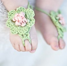 Crochet Baby Girl Sandals Green cotton Girl chic by HappyThreads1, $18.00