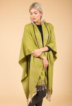 Jayley Cashmere Wrap | Green Print Cashmere Wrap