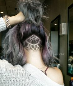 45 Undercut Hairstyles with Hair Tattoos for Women With Shor.- 45 Undercut Hairstyles with Hair Tattoos for Women With Short or Long Hair Women's Long Undercut Hairstyles with Hair Tattoos More - Undercut Tattoos, Hair Tattoos, Nape Undercut Designs, Undercut Styles, Haircut Styles, Hair Color Dark, Dark Hair, Hair Colour, Beard Colour