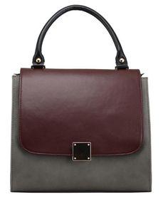 Bordeaux Mixed Color Retro Handbag