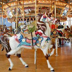 Lead horse figure on the Dentzel Carousel at Please Touch Museum in Philadelphia.