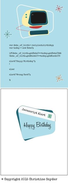 Nerdy science birthday card. Javascript joke.