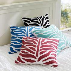 Zebra Crewel Pillow Cover #pbteen