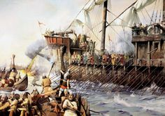 Byzantine dromon being attacked by Rus Viking longships, The Byzantines were the last to use Greek fire in warfare as seen on the photo
