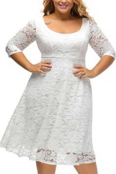 Mode New White Lace Floral Sleeved Fit and Flare Curvy Dress Plus Size Lace Dress, Floral Lace Dress, Lace Midi Dress, Plus Size Dresses, Lace Dresses, Skater Dress, Bodycon Dress, Midi Dresses, Black Party Dresses