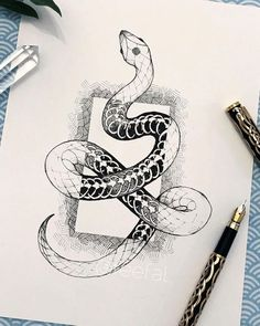 Croquis de dessin art serpent - Croquis de dessin d& serpent – – - Snake Sketch, Snake Drawing, Snake Art, Art Drawings Sketches, Tattoo Sketches, Animal Drawings, Tattoo Drawings, Sketch Drawing, Drawings Of Snakes